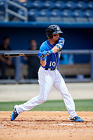 Biloxi Shuckers shortstop Mauricio Dubon (10) at bat during a game against the Jackson Generals on April 23, 2017 at MGM Park in Biloxi, Mississippi.  Biloxi defeated Jackson 3-2.  (Mike Janes/Four Seam Images)