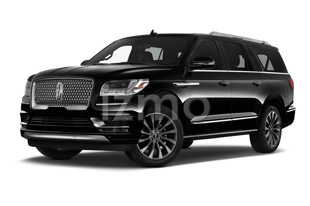Stock pictures of low aggressive front three quarter view of 2020 Lincoln Navigator Reserve-L 5 Door SUV Low Aggressive