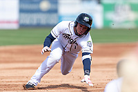 Kane County Cougars right fielder Eduardo Diaz (1) slides into third base during a Midwest League game against the Cedar Rapids Kernels at Northwestern Medicine Field on April 28, 2019 in Geneva, Illinois. Kane County defeated Cedar Rapids 3-2 in game one of a doubleheader. (Zachary Lucy/Four Seam Images)