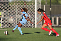 Piscataway, NJ - Saturday June 03, 2017: Kayla Mills, Nadia Nadim during a regular season National Women's Soccer League (NWSL) match between Sky Blue FC and the Portland Thorns FC at Yurcak Field.