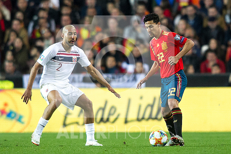 Norway's Haitam Aleesami and Spain's Jesus Navas  during the qualifying match for Euro 2020 on 23th March, 2019 in Valencia, Spain. (ALTERPHOTOS/Alconada)