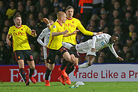 Nathan Dyer of Swansea City (R) is fouled by Sebastian Prodl of Watford during the Premier League match between Watford and Swansea City at the Vicarage Road, Watford, England, UK. Saturday 30 December 2017