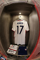 GUADALAJARA, MEXICO - MARCH 24: The locker of Aaron Herrera #17 of the United States before a game between Mexico and USMNT U-23 at Estadio Jalisco on March 24, 2021 in Guadalajara, Mexico.