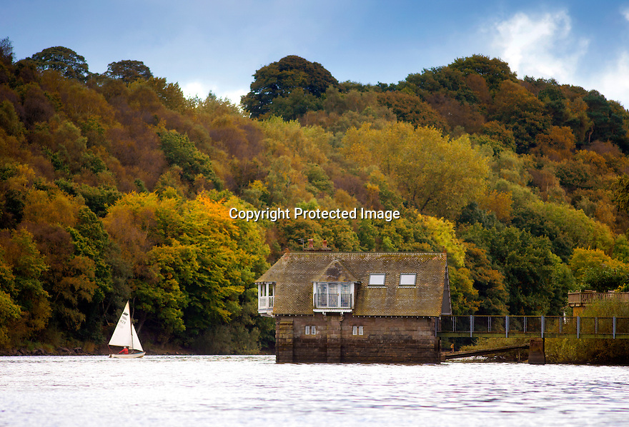 11/10/16 <br /> <br /> Surrounded by stunning autumn colours, a sailing boat finds some freshening winds as it tacks past a house known as the Lady of The Lake on Rudyard Lake, near Leek, Staffordshire.  Rudyard Kipling is said to have been named after the area following a visit by his parents.<br /> <br /> All Rights Reserved: F Stop Press Ltd. +44(0)1773 550665   www.fstoppress.com