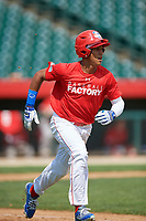 Emmanuel Rodriguez (13) runs to first base after hitting a home run during the Dominican Prospect League Elite Underclass International Series, powered by Baseball Factory, on August 1, 2017 at Silver Cross Field in Joliet, Illinois.  (Mike Janes/Four Seam Images)
