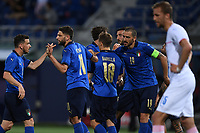 Domenico Berardi of Italy celebrates with team mates after scoring a goal <br /> Uefa European friendly football match between Italy and Czech Republic at stadio Renato Dall'Ara in Bologna (Italy), June, 4th, 2021. Photo Image Sport / Insidefoto