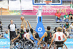 November 18 2011 - Guadalajara, Mexico:   David Eng of Team Canada takes a shot while being heavily defended in the CODE Alcalde Sports Complex at the 2011 Parapan American Games in Guadalajara, Mexico.  Photos: Matthew Murnaghan/Canadian Paralympic Committee