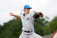 Hudson Valley Renegades starting pitcher Spencer Moran (17) during a game against the Batavia Muckdogs on July 31, 2016 at Dwyer Stadium in Batavia, New York.  Hudson Valley defeated Batavia 4-1.  (Mike Janes/Four Seam Images)