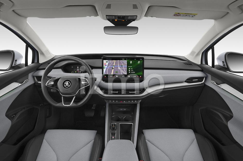 Straight dashboard view of a 2021 Skoda Enyaq IV 80 SUV