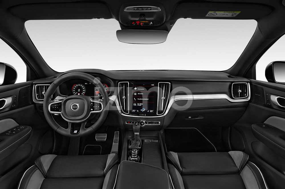 Stock photo of straight dashboard view of a 2019 Volvo S60 R-Design 4 Door Sedan