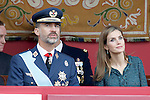 King Felipe VI of Spain and Queen Letizia of Spain attend Spain's National Day Military Parade. October 12 ,2014. (ALTERPHOTOS/Pool)
