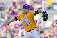 LSU Tigers pitcher Jake Godfrey (29) delivers a pitch to the plate during the Southeastern Conference baseball game against the Texas A&M Aggies on April 25, 2015 at Alex Box Stadium in Baton Rouge, Louisiana. Texas A&M defeated LSU 6-2. (Andrew Woolley/Four Seam Images)