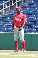 Philadelphia Phillies outfielder Larry Greene #21 during an Instructional League game against the Detroit Tigers at Brighthouse Field on October 5, 2011 in Clearwater, Florida.  (Mike Janes/Four Seam Images)