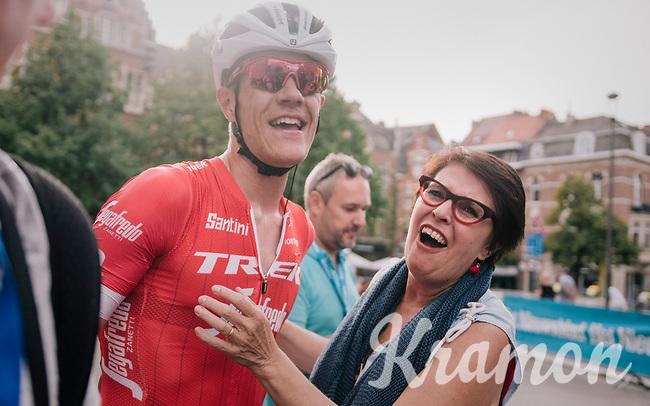 Jasper Stuyven (BEL/Trek-Segafredo) sprints to an emotional hometown win in Leuven (BEL) and is welcomed by his mom after the finish<br /> <br /> 52nd GP Jef Scherens - Rondom Leuven 2018 (1.HC)<br /> 1 Day Race: Leuven to Leuven (186km/BEL)