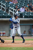 Joe Cronin (15) of the Pensacola Blue Wahoos at bat against the Birmingham Barons at Regions Field on July 7, 2019 in Birmingham, Alabama. The Barons defeated the Blue Wahoos 6-5 in 10 innings. (Brian Westerholt/Four Seam Images)