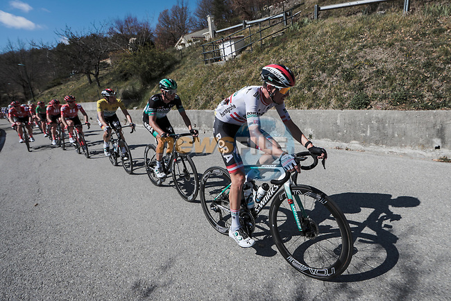 The peloton in action during Stage 7 of the 78th edition of Paris-Nice 2020, running 166.5km from Nice to Valdeblore La Colmiane, France. 14th March 2020.<br /> Picture: ASO/Fabien Boukla | Cyclefile<br /> All photos usage must carry mandatory copyright credit (© Cyclefile | ASO/Fabien Boukla)