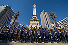 Sept 13, 2014; The Notre Dame Marching Band performs in front of Monument Circle for fans before the Shamrock Series football game against Purdue in Indianapolis. (Photo by Barbara Johnston/University of Notre Dame