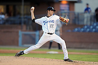 Asheville Tourists starting pitcher Ben Alsup #22 delivers a pitch during a one hit shutout against the Charleston River Dogs at McCormick Field on August 15, 2012 in Asheville, North Carolina. The Tourists defeated the River Dogs 6-0. (Tony Farlow/Four Seam Images).