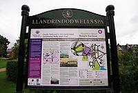 A tourist board of Llandrindod Wells in Powys, mid Wales, UK