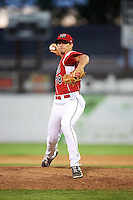 Batavia Muckdogs relief pitcher Sam Perez (38) during a game against the Aberdeen Ironbirds on July 15, 2016 at Dwyer Stadium in Batavia, New York.  Aberdeen defeated Batavia 4-2. (Mike Janes/Four Seam Images)