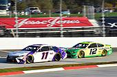 #11: Denny Hamlin, Joe Gibbs Racing, Toyota Camry FedEx Ground, #12: Ryan Blaney, Team Penske, Ford Mustang Menards/Libman