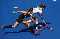Judith Vandermeiren and Amy Robinson during the Pro League Hockey match between the Blacksticks Women and Belgium, National Hockey Arena, Auckland, New Zealand, Sunday 2 February 2020. Photo: Simon Watts/www.bwmedia.co.nz
