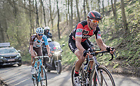 race leaders Greg Van Avermaet (BEL/BMC), Philippe Gilbert (BEL/Quick Step floors) & Oliver Naesen (BEL/AG2R-LaMondiale) up the Karnemelkbeekstraat<br /> <br /> 60th E3 Harelbeke (1.UWT)<br /> 1day race: Harelbeke › Harelbeke - BEL (206km)
