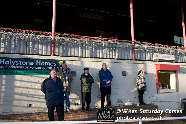 Horden Colliery Welfare 0 Billingham Synthonia 2, 24/10/2009. Welfare Park, Northern League Division One. Spectators watching the action from below the main stand during the Northern League division one fixture between Horden Colliery Welfare (red) and Billingham Synthonia, at Welfare Park, Horden. Horden won division two in the previous season but lost this fixture 2-0 against their higher-placed opponents. Photo by Colin McPherson.
