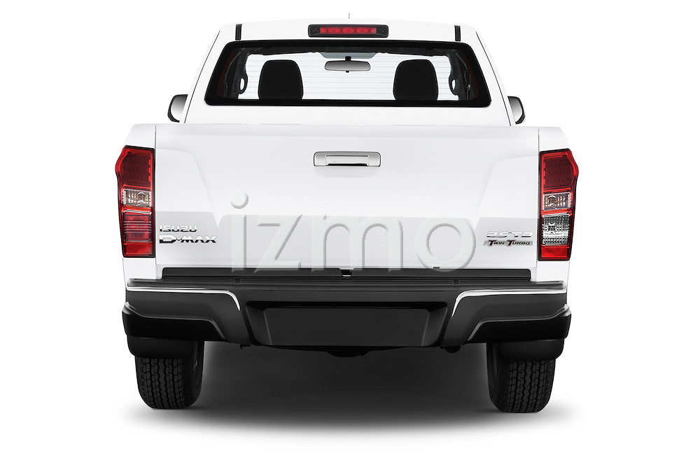 Straight rear view of a 2015 Isuzu D-Max L+ 4 Door Pickup 2WD Rear View  stock images