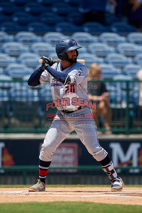 Jacksonville Jumbo Shrimp J.C. Millan (20) at bat during a Southern League game against the Mississippi Braves on May 5, 2019 at Trustmark Park in Pearl, Mississippi.  Mississippi defeated Jacksonville 1-0 in ten innings.  (Mike Janes/Four Seam Images)