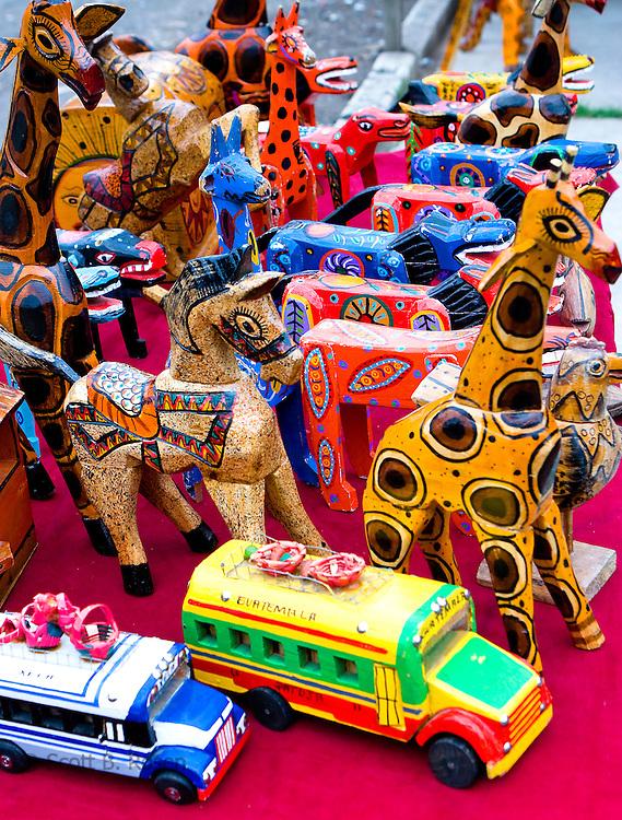 Colorful handicrafts for sale at a market in Santiago Atitlan, Lake Atitlan, Guatemala