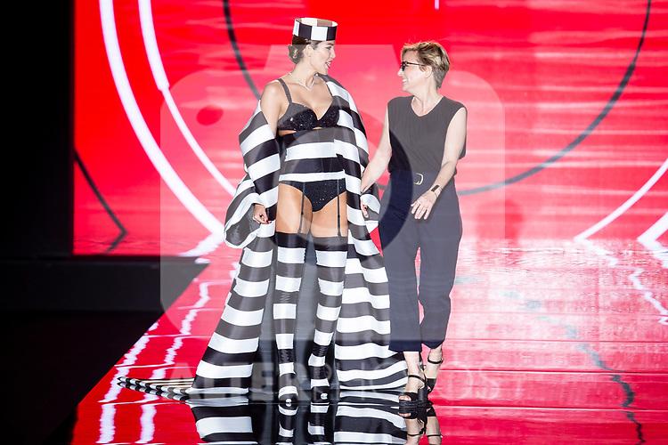 Model Rosanna Zanetti and designer Nuria Sarda walks the runway at the 'Andres Sarda' catwalk during the Mercedes-Benz Madrid Fashion Week Spring/Summer in Madrid, Spain. July 09, 2018.(ALTERPHOTOS/Borja B.Hojas)