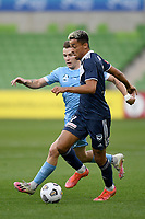 6th June 2021; AAMI Park, Melbourne, Victoria, Australia; A League Football, Melbourne Victory versus Melbourne City; Ben Folami of the Victory challenged by Scott Galloway of Melbourne City