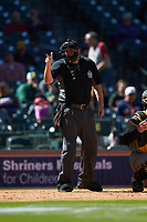 Home plate umpire Ron Teague makes a strike call during the NCAA baseball game between the Missouri Tigers and the Baylor Bears in game one of the 2020 Shriners Hospitals for Children College Classic at Minute Maid Park on February 28, 2020 in Houston, Texas. The Bears defeated the Tigers 4-2. (Brian Westerholt/Four Seam Images)