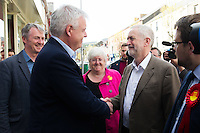 MAESTEG, Wales. 4th May 2016. On the eve of the Welsh Assembly election, Labour leader Jeremy Corbyn visits Maesteg, which will also hold a Westminster by-election for the Ogmore constituency tomorrow.<br /> <br /> Pictured: First Minister of Wales Carwyn Jones (L) shakes Labour leader Jeremy Corbyn's (R) hand
