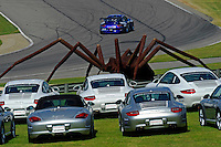 17-19  July, 2009, Birmingham, Alabama USA.A fleet of Porsches keep the spider busy so that the race may go on..©2009 F.Peirce Williams, USA.