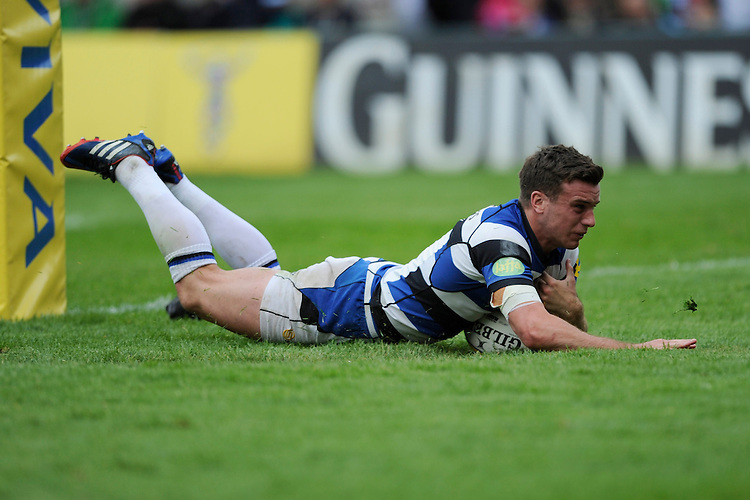 George Ford of Bath Rugby dives over to score a try during the Aviva Premiership match between Harlequins and Bath Rugby at The Twickenham Stoop on Saturday 10th May 2014 (Photo by Rob Munro)