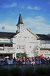 Crowd waiting to see Triple Crown winner American Pharoah in the paddock.