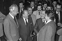17 Mars 1978. Vue de Pierre Baudis et de Raymond Barre lors d'une réception.