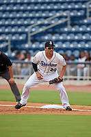 Biloxi Shuckers first baseman Patrick Leonard (20) during a Southern League game against the Montgomery Biscuits on May 8, 2019 at MGM Park in Biloxi, Mississippi.  Biloxi defeated Montgomery 4-2.  (Mike Janes/Four Seam Images)