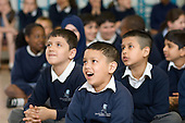 Morning assembly at Christ Church Bentinck Church of England Primary School, Westminster, London.