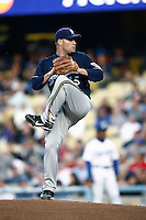 Ben Sheets of the Milwaukee Brewers during a game from the 2007 season at Dodger Stadium in Los Angeles, California. (Larry Goren/Four Seam Images)