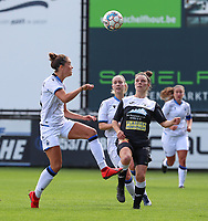 Brugge's Charlotte Laridon (15)(L) and Aalst's Lieselot De Kegel (15) (R) in action  during a female soccer game between Eendracht Aalst and Dames Club Brugge YLA on the first matchday of the 2020 - 2021 season of Belgian Women's SuperLeague , friday 28 of August 2020  in Aalst , Belgium . PHOTO SPORTPIX.BE | SPP | SEVIL OKTEM