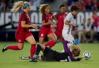Carson, CA - Thursday August 03, 2017: Mina Tanaka, Alyssa Naeher during a 2017 Tournament of Nations match between the women's national teams of the United States (USA) and Japan (JAP) at StubHub Center.