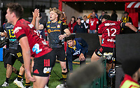 Damien McKenzie celebrates his try during the 2021 Super Rugby Aotearoa final between the Crusaders and Chiefs at Orangetheory Stadium in Christchurch, New Zealand on Saturday, 8 May 2021. Photo: Joe Johnson / lintottphoto.co.nz