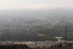 The Look Now Stadium Stocksbridge seen from across the valley. The town's retail park is in the foreground.  Stocksbridge Park Steels v Pickering Town, Evo-Stik East Division, 17th November 2018. Stocksbridge Park Steels were born from the works team of the local British Steel plant that dominates the town north of Sheffield.<br /> Having missed out on promotion via the play offs in the previous season, Stocksbridge were hovering above the relegation zone in Northern Premier League Division One East, as they lost 0-2 to Pickering Town. Stocksbridge finished the season in 13th place.