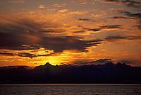 Chugach mountain sunset skyline, Mt. Gilbert, Prince William Sound, Alaska