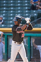 Roger Bernadina (22) of the Albuquerque Isotopes at bat against the Salt Lake Bees in Pacific Coast League action at Smith's Ballpark on June 8, 2015 in Salt Lake City, Utah.  (Stephen Smith/Four Seam Images)