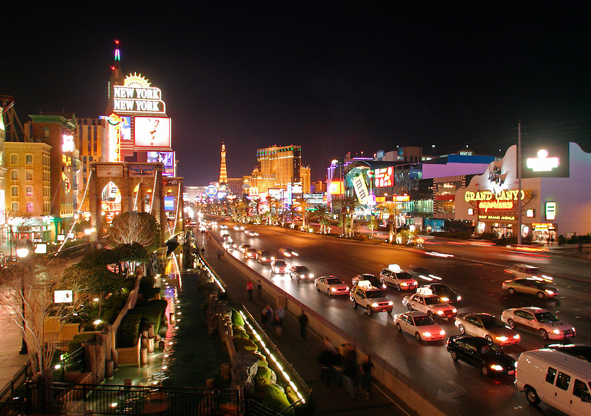 View looking down The Strip at night, Las Vegas, Clark County, N