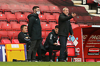 Lee Bowyer manager of Charlton Athletic complains to the fourth official during Charlton Athletic vs Plymouth Argyle, Emirates FA Cup Football at The Valley on 7th November 2020